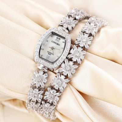 Longbo Sapphire Mirror Women Quartz Diamond Bracelet Double-circle Alloy Band Chain WatchWomens Watches<br>Longbo Sapphire Mirror Women Quartz Diamond Bracelet Double-circle Alloy Band Chain Watch<br><br>Brand: Longbo<br>Watches categories: Female table<br>Available color: Silver, Rose Gold<br>Style : Bracelet, Diamond, Fashion&amp;Casual<br>Movement type: Quartz watch<br>Shape of the dial: Rectangle<br>Surface material: Sapphire<br>Display type: Analog<br>Case material: Alloy<br>Band material: Alloys<br>Clasp type: Sheet folding clasp<br>The dial thickness: 0.9 cm / 0.35 inches<br>The dial diameter: 2.3 cm / 0.90 inches<br>The band width: 0.9 cm / 0.35 inches<br>Product weight: 0.068 kg<br>Package weight: 0.118 kg<br>Product size (L x W x H) : 36 x 2.3 x 0.9 cm / 14.15 x 0.90 x 0.35 inches<br>Package size (L x W x H): 20 x 5 x 2 cm / 7.86 x 1.97 x 0.79 inches<br>Package contents: 1 x Longbo Watch