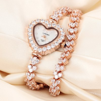 Longbo 2045 Heart-shaped Dial Female Sapphire Mirror Diamond Japan Quartz Bracelet Double-circle Alloy Band Chain WatchWomens Watches<br>Longbo 2045 Heart-shaped Dial Female Sapphire Mirror Diamond Japan Quartz Bracelet Double-circle Alloy Band Chain Watch<br><br>Brand: Longbo<br>Watches categories: Female table<br>Available color: Rose Gold, Silver<br>Style : Bracelet, Diamond, Fashion&amp;Casual<br>Movement type: Quartz watch<br>Surface material: Sapphire<br>Display type: Analog<br>Case material: Alloy<br>Band material: Alloys<br>Clasp type: Sheet folding clasp<br>The dial thickness: 0.8 cm / 0.31 inches<br>The dial diameter: 3.0 cm / 1.18 inches<br>The band width: 0.8 cm / 0.31 inches<br>Product weight: 0.067 kg<br>Package weight: 0.117 kg<br>Product size (L x W x H) : 35.5 x 3.0 x 0.8 cm / 13.95 x 1.18 x 0.31 inches<br>Package size (L x W x H): 20 x 4 x 2 cm / 7.86 x 1.57 x 0.79 inches<br>Package contents: 1 x Longbo 2045 Watch