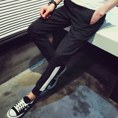 Гаджет   Slimming Trendy Irregular Color Block Splicing Beam Feet Men