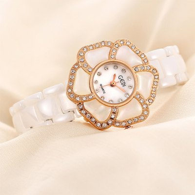 Гаджет   GEDI Ceramic Strap Flower Dial Ladies Diamond Japan Quartz Watch Women