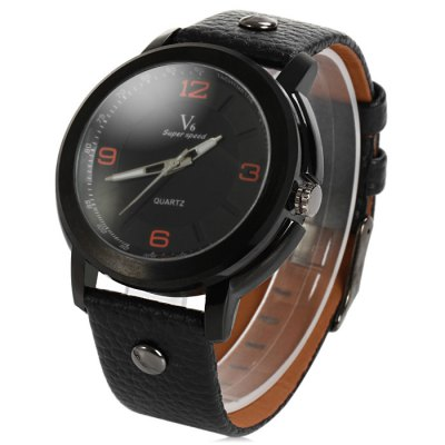 V6 V0257 Male Quartz Watch with Embossed Leather Band