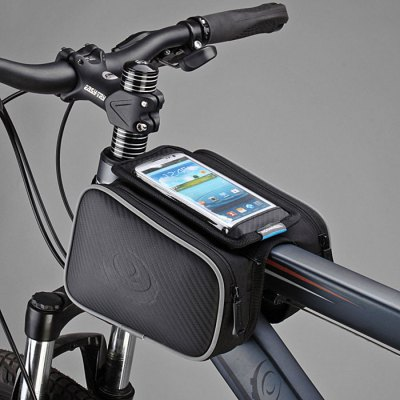Фотография Roswheel 12813 1.8L Bicycle Front Top Tube Frame Bag 5.5 Inches Mobile Phone Pocket + Dual Pouches