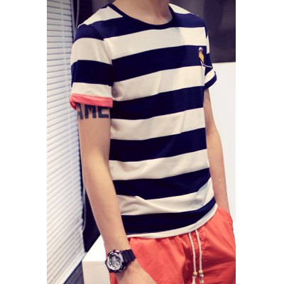 Гаджет   Novel Color Block Cuffs Short Sleeves Fitted Round Neck Men