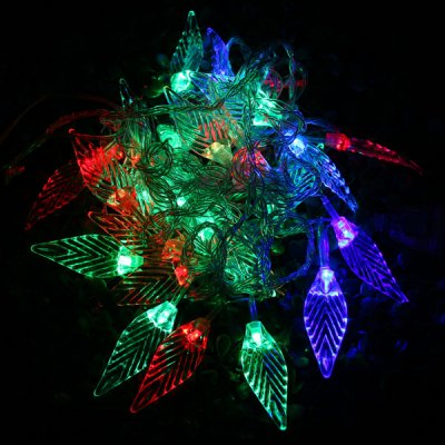 6m 28 LEDs RGB Christmas Leaf LED String Light for Outdoor Garden Party