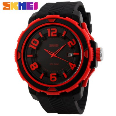 ФОТО Skmei 1071 Water Resistant Unisex Quartz Watch 3D Scales Date Function Wristwatch with Rubber Band