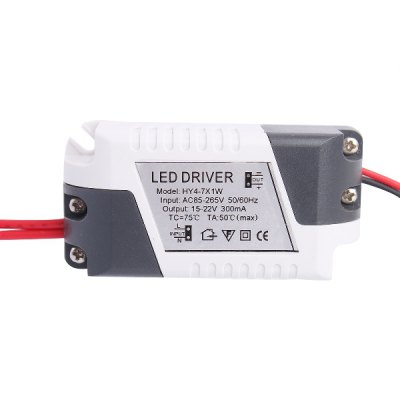 HY 4 - 7 x 1W LED Driver Power Source Converter for Ceiling LightLED Accessories<br>HY 4 - 7 x 1W LED Driver Power Source Converter for Ceiling Light<br><br>Input Voltage: AC 85-265V<br>Output Power: (4-7)x1W<br>Current: 300mA<br>Material: Plastic<br>Product weight: 0.038 kg<br>Package weight: 0.105 kg<br>Product size (L x W x H): 6.8 x 3.2 x 2.2 cm / 2.67 x 1.26 x 0.86 inches<br>Package size (L x W x H): 9 x 6 x 4 cm / 3.54 x 2.36 x 1.57 inches<br>Package Contents: 1 x Power Source ( Cable Length-9cm/9cm )