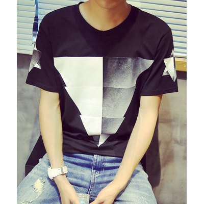Trendy Round Neck Color Block Triangle Print Slimming Short Sleeve Cotton Blend T-Shirt For Men