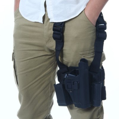 Extended Edition Right Hand Tactical Leg Mounted Nylon Strap + Plastic Holder P226 Gun Holster