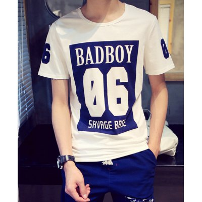 Slimming Stylish Round Neck Letters and Number Print Short Sleeve Men