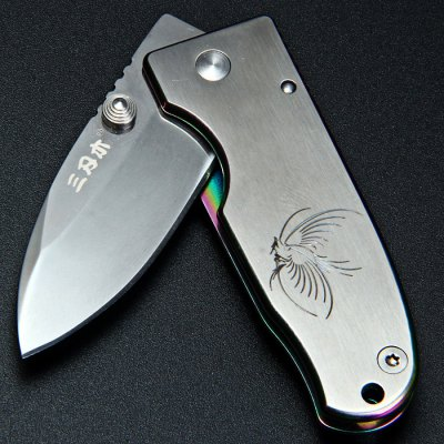 Sanrenmu 4024 LUE-SCX Small Line Locking Foldable Knife Colorful Edge Stainless Steel Blade