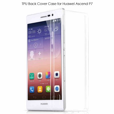 TPU Material Ultrathin Transparent Phone Back Cover Case for Huawei Ascend P7
