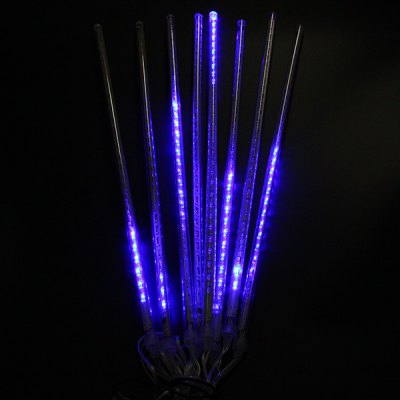 0.5M 8 Tubes Blue Meteor Shower Rain String Light Tree Party for Christmas New Year Wedding Outdoor Garden ( EU Plug )