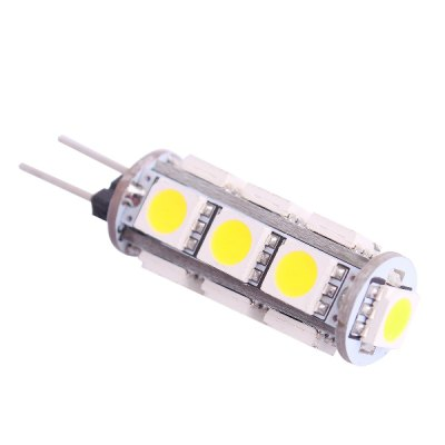 G4 1.5W SMD - 5050 13 LEDs 6000K 120LM White Light Crystal LED Bulb ( DC 12V )LED Light Bulbs<br>G4 1.5W SMD - 5050 13 LEDs 6000K 120LM White Light Crystal LED Bulb ( DC 12V )<br><br>Base Type: G4<br>Type: Spot Bulbs<br>Output Power: 1.5W<br>Emitter Type: SMD - 5050<br>Total Emitters: 13<br>Actual Lumen(s): 120LM<br>Wavelength/Color Temperature: 6000K<br>Voltage (V): DC 12<br>Angle: 360<br>Features: Long Life Expectancy, Low Power Consumption<br>Function: Home Lighting, Studio and Exhibition Lighting<br>Available Light Color: Cold White<br>Sheathing Material: Aluminum<br>Product Weight: 0.003 kg<br>Package Weight: 0.075 kg<br>Product Size (L x W x H): 4.2 x 1 x 1 cm / 1.65 x 0.39 x 0.39 inches<br>Package Size (L x W x H): 6.5 x 2 x 2 cm / 2.55 x 0.79 x 0.79 inches<br>Package Contents: 1 x 6000K SMD - 5050 LED Light