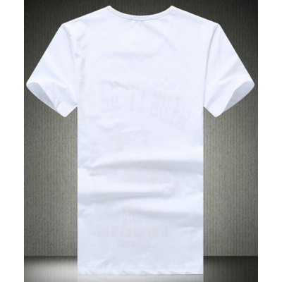 Casual Plus Size Slimming Cartoon Figure and Letters Print Round Neck Short Sleeves Men