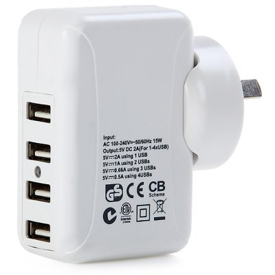 10W 5V 2A Interchangeable Plugs Power Adapter 4 USB Slots for Mobile DevicesTablet Accessories<br>10W 5V 2A Interchangeable Plugs Power Adapter 4 USB Slots for Mobile Devices<br><br>Style: Modern, Cool, Solid Color, Novelty<br>Available Color: Black, White<br>Package weight: 0.280 kg<br>Package size (L x W x H): 24.0 x 15.0 x 9.0 cm / 9.43 x 5.90 x 3.54 inches<br>Package Contents: 1 x Power Adapter, 1 x English Manual