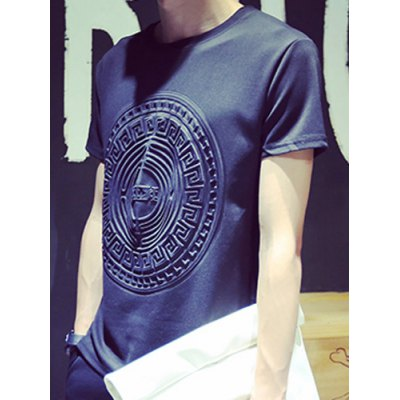 Modern Style Fitted Round Neck 3D Knurling Geometric Pattern Short Sleeves Men