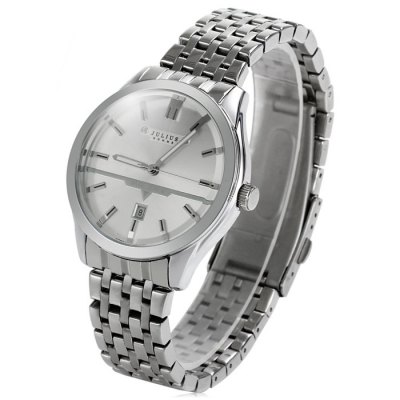 Гаджет   JuJulius 086 Contracted Stainless Steel Band Male Date Display Quartz Watch Men