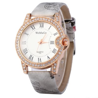 Womage 733 Ladies Diamond Quartz Watch with Printed Leather Strap