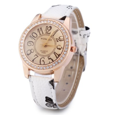 Womage A596 Diamond-shaped Mirror Ladies Quartz Watch with Printed Leather Strap