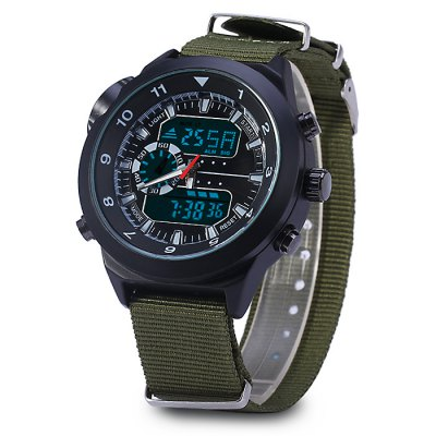 LED Sports Military Comapss Style Watch Dual-movt Canvas Strap Wristwatch