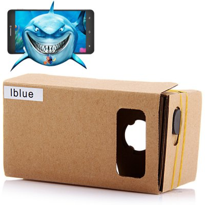 iBlue DIY Cardboard 3D VR Glasses with Magnetic Sensor for 3.5   5.5 inches Phone