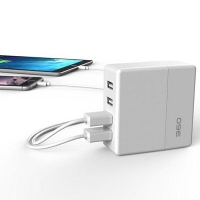 360 Frosted 4 Ports USB 2.0 Wall-in Charger with Folded Plug