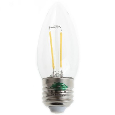 2Pcs Zweihnder W016 E27 2W 180Lm Edison Filament Bulb Warm White Tungsten Candle Bulb ( 3000 - 3500K ) - ZweihnderLED Light Bulbs<br>2Pcs Zweihnder W016 E27 2W 180Lm Edison Filament Bulb Warm White Tungsten Candle Bulb ( 3000 - 3500K )<br><br>Brand : Zweihnder<br>Base Type: E27<br>Type: Candle Bulbs<br>Output Power: 2W<br>Emitter Type: LED<br>Theoretical Lumen(s): 200Lm<br>Actual Lumen(s): 180Lm<br>Wavelength/Color Temperature: 3000-3500K<br>Voltage (V): AC 220-240<br>Angle: 360<br>Lifespan: 50000 hrs<br>Features: Long Life Expectancy, Low Power Consumption<br>Function: Studio and Exhibition Lighting, Home Lighting, Outdoor Lighting<br>Available Light Color: Warm White<br>Sheathing Material: Glass<br>Product Weight: 0.033 kg<br>Package Weight: 0.064 kg<br>Product Size (L x W x H): 9.4 x 3.5 x 3.5 cm / 3.69 x 1.38 x 1.38 inches<br>Package Size (L x W x H): 15.5 x 8.8 x 5 cm / 6.09 x 3.46 x 1.97 inches<br>Package Contents: 2 x Zweihnder W016 E27 2W 180Lm LED Tungsten Light
