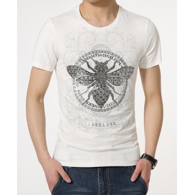Stylish Round Neck Insect Pattern Slimming Short Sleeve Polyester T-Shirt For Men