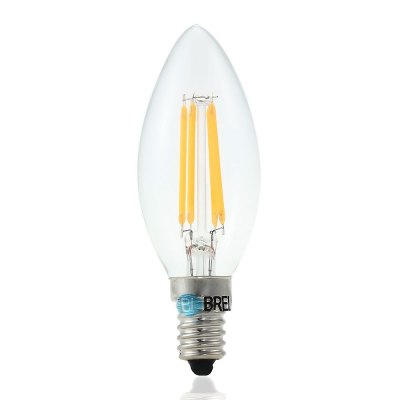 BRELONG E14 4W 3000 - 3500K 400LM 4 x COB LED Candle Type Tungsten Filament Light Bulb ( AC 220V )