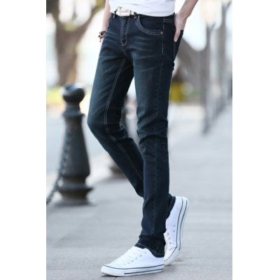 Simple Narrow Feet Fitted Pockets and Sutures Design Solid Color Zipper Fly Men