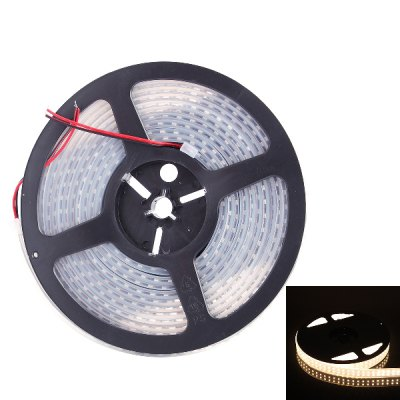 5 Meters x 120 SMD - 3528 LEDs 3000K 1800LM IP67 Flexible Double Row LED Light Strip ( 72W DC 12V )LED Strips<br>5 Meters x 120 SMD - 3528 LEDs 3000K 1800LM IP67 Flexible Double Row LED Light Strip ( 72W DC 12V )<br><br>Connector Type: Wired<br>Light Color: Warm White<br>CCT/Wavelength: 3000K<br>Voltage (V): DC12<br>Output Power(W): 72W<br>Actual Lumen(s): 1800LM<br>Features: IP-67, Dual-row, Waterproof, Free RGB Driver<br>Length (m): 5m<br>Number of LEDs: 600<br>Material: Silicone<br>Product weight: 0.320 kg<br>Package weight: 0.400 kg<br>Product size (L x W x H): 18 x 18 x 2 cm / 7.07 x 7.07 x 0.79 inches<br>Package size (L x W x H): 23.5 x 24 x 3.5 cm / 9.24 x 9.43 x 1.38 inches<br>Package Contents: 1 x LED Light Strip