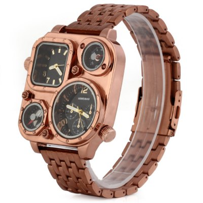 ФОТО Shiweibao J1108 Bronzed Case Dual Time Male Quartz Watch with Compass Stainless Steel Band