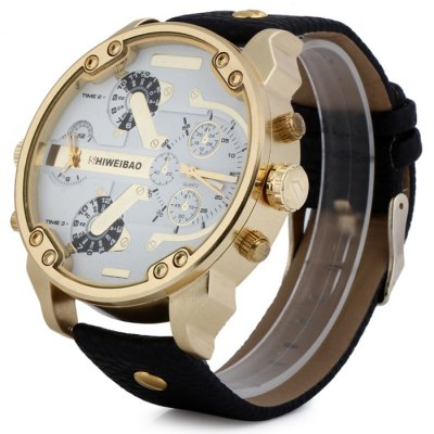 Shiweibao A3137 Big Dial Golden Case Male Dual Movt Quartz Watch with Leather BandMens Watches<br>Shiweibao A3137 Big Dial Golden Case Male Dual Movt Quartz Watch with Leather Band<br><br>Brand: Shiweibao<br>Watches categories: Male table<br>Watch style: Fashion<br>Available color: Black, Coffee, Brown, White<br>Movement type: Double-movtz<br>Shape of the dial: Round<br>Display type: Analog<br>Case material: Stainless steel<br>Band material: Leather<br>Clasp type: Pin buckle<br>Special features: Decorating small sub-dials<br>The dial thickness: 1.5 cm / 0.59 inches<br>The dial diameter: 5.7 cm / 2.24 inches<br>The band width: 2.4 cm / 0.94 inches<br>Wearable Length:: 20.5 - 25 cm / 8.07 - 9.84 inches<br>Product weight: 0.106 kg<br>Package weight: 0.156 kg<br>Product size (L x W x H): 27.8 x 5.7 x 1.5 cm / 10.93 x 2.24 x 0.59 inches<br>Package size (L x W x H): 28.8 x 6.7 x 2.5 cm / 11.32 x 2.63 x 0.98 inches<br>Package Contents: 1 x Shiweibao A3137 Watch