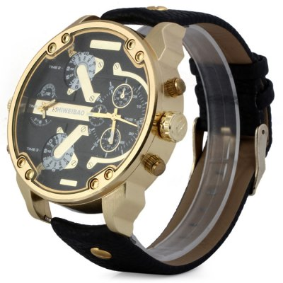 Shiweibao A3137 Big Dial Golden Case Male Dual Movt Quartz Watch with Leather Band - ShiweibaoMens Watches<br>Shiweibao A3137 Big Dial Golden Case Male Dual Movt Quartz Watch with Leather Band<br><br>Brand: Shiweibao<br>Watches categories: Male table<br>Watch style: Fashion<br>Available color: Black, Coffee, Brown, White<br>Movement type: Double-movtz<br>Shape of the dial: Round<br>Display type: Analog<br>Case material: Stainless steel<br>Band material: Leather<br>Clasp type: Pin buckle<br>Special features: Decorating small sub-dials<br>The dial thickness: 1.5 cm / 0.59 inches<br>The dial diameter: 5.7 cm / 2.24 inches<br>The band width: 2.4 cm / 0.94 inches<br>Wearable Length:: 20.5 - 25 cm / 8.07 - 9.84 inches<br>Product weight: 0.106 kg<br>Package weight: 0.156 kg<br>Product size (L x W x H): 27.8 x 5.7 x 1.5 cm / 10.93 x 2.24 x 0.59 inches<br>Package size (L x W x H): 28.8 x 6.7 x 2.5 cm / 11.32 x 2.63 x 0.98 inches<br>Package Contents: 1 x Shiweibao A3137 Watch