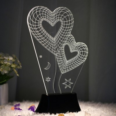 Stylish Colorful 3D Wireframe LED Lamp Magic Night / Bed Light with Telesthesia Pattern