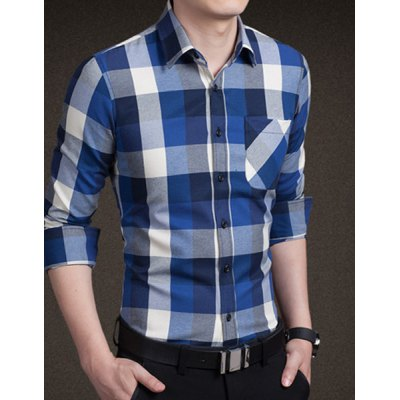 Trendy Shirt Collar Color Block Checked One Pocket Slimming Long Sleeve Cotton Blend Shirt For Men