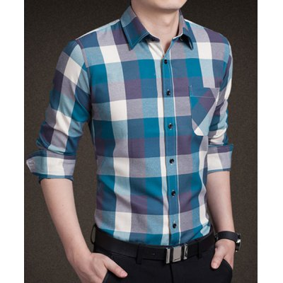 Trendy Shirt Collar Color Block Checked One Pocket Slimming Long Sleeve Cotton Blend Shirt For MenMens Shirts<br>Trendy Shirt Collar Color Block Checked One Pocket Slimming Long Sleeve Cotton Blend Shirt For Men<br><br>Shirts Type: Casual Shirts<br>Material: Polyester, Cotton<br>Sleeve Length: Full<br>Collar: Turn-down Collar<br>Weight: 0.360KG<br>Package Contents: 1 x Shirt