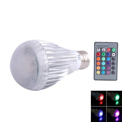 E27 RGB Q7 LED Light Globe Bulb with 24 Key Remote Controller 3W 85 - 265V