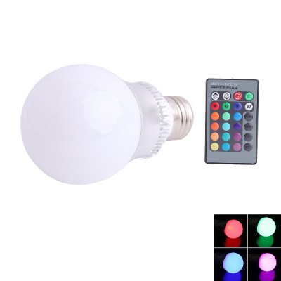 E27 RGB Q2 LED Light Globe Bulb with 24 Key Remote Controller 3W 85 - 265V