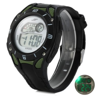 NT LED Sports Watch with Day Date Alarm Stopwatch Function Rubber BandSports Watches<br>NT LED Sports Watch with Day Date Alarm Stopwatch Function Rubber Band<br><br>Brand: NT<br>People: Unisex table<br>Watch style: Fashion&amp;Casual, Outdoor Sports, LED<br>Available color: Blue, Army Green<br>Shape of the dial: Round<br>Movement type: Digital watch<br>Display type: Digital<br>Case material: PC<br>Band material: Rubber<br>Clasp type: Pin buckle<br>Special features: Stopwatch, Day, Date, Alarm clock<br>The dial thickness: 1.4 cm / 0.55 inches<br>The dial diameter: 4.3 cm / 1.69 inches<br>The band width: 2.0 cm / 0.79 inches<br>Wearable Length:: 15.5 - 21 cm / 6.10 - 8.27 inches<br>Product weight: 0.038 kg<br>Package weight: 0.088 kg<br>Product size (L x W x H) : 24 x 4.3 x 1.4 cm / 9.43 x 1.69 x 0.55 inches<br>Package size (L x W x H): 25 x 5.3 x 2.4 cm / 9.83 x 2.08 x 0.94 inches<br>Package contents: 1 x NT LED Watch