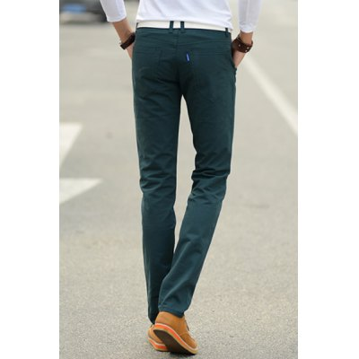 Фотография Casual Narrow Feet Fitted Pocket Embellished Zipper Fly Solid Color Men