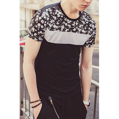 Гаджет   Classic 3D Floral Print Spliced Color Block Round Neck Fitted Short Sleeves Men