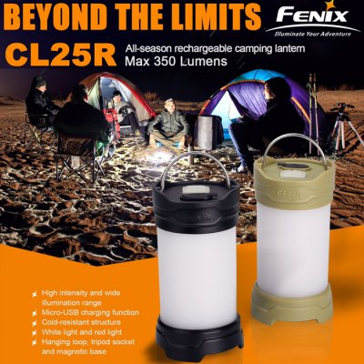Fenix CL25R 350Lm Red + White Light Water-resistant Rechargeable 18650 / CR123A LED Lantern Flashlight Camping Lamp