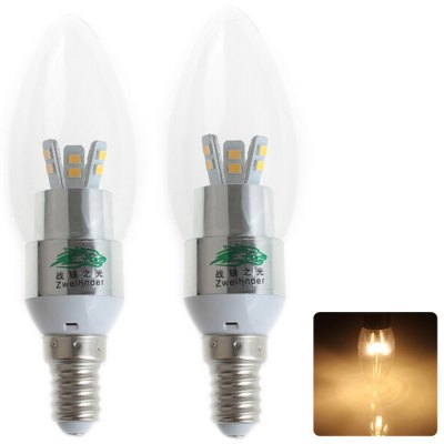 Zweihnder W006 E14 3W 280Lm 12 x SMD 2835 Warm White LED Candle Light 2Pcs