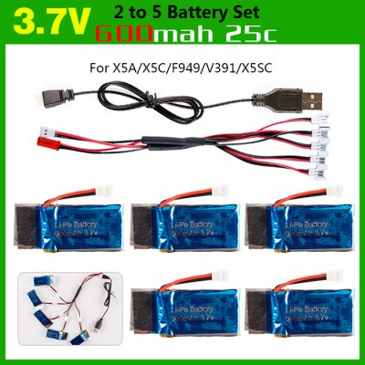Durable 2 to 5 Balance USB Charger + 5 PCS 3.7V 600mAh LiPo with Protection Board + USB Cable for H107 / H107C / 107D / X5C / 385 / U941 / U941A RC Model Accessories