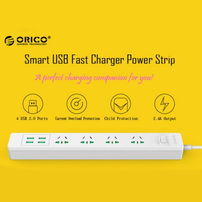 ORICO Surge Protector USB Charging Station Power Strip with 4 AC Outlet 4 Smart USB Charger Port
