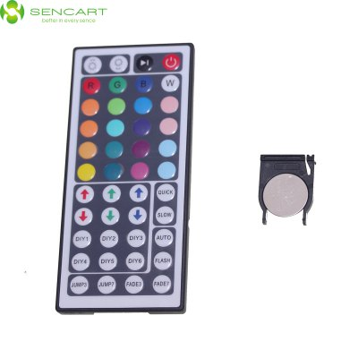 Sencart 44 Key LED RGB Light Strip RF Remote ControllerLED Accessories<br>Sencart 44 Key LED RGB Light Strip RF Remote Controller<br><br>Accessory Type: Switch<br>Material: TPU<br>Product Weight: 0.025 kg<br>Package Weight: 0.090 kg<br>Product Size (L x W x H): 12.5 x 5.7 x 0.7 cm / 4.91 x 2.24 x 0.28 inches<br>Package Size (L x W x H): 15 x 8 x 3 cm / 5.90 x 3.14 x 1.18 inches<br>Package Contents: 1 x RF Remote Controller