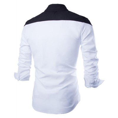 ФОТО Stylish Shirt Collar Simple Color Splicing Slimming Long Sleeve Cotton Blend Shirt For Men