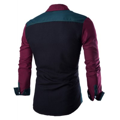 Гаджет   Fashion Shirt Collar Color Block Stitching Slimming Long Sleeve Cotton Blend Shirt For Men Shirts