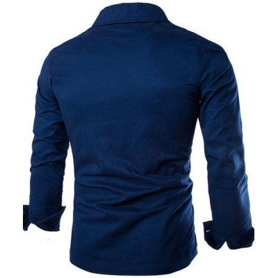 Гаджет   Trendy Shirt Collar Letter Embroidered Slimming Long Sleeve Cotton Blend Shirt For Men Shirts